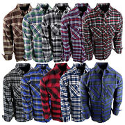 Flannel Plaid Shirt Mens Western Button Pockets New Cool Colors Long Sleeve