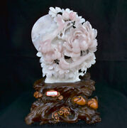 18.8 China Natural Xiu Pink Jade Carving Subshrubby Peony Flower Birds Statue