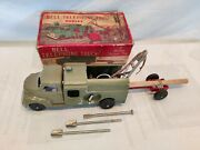 Vintage Hubley No 482 Bell Telephone Truck Kiddie Toy With Trailer And Pulley.