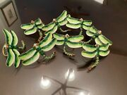 8 Large Cloisonné Dragonfly Napkin Rings W/articulated Tails Green