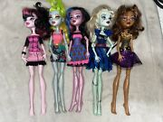 Monster High Doll Lot Of 5 With Clothes Mattel