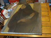 Large 32 X 46 Antique Modern Painting Jean-claude Guignebert Woman And Baby