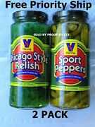 1 Vienna Beef Sport Peppers And 1 Neon Green Chicago Style Hot Dog Relish Gift Kit
