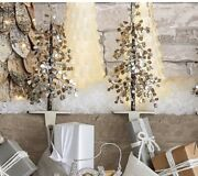 Pottery Barn Christmas Lot Of 2 Faceted Glass Mirror Tree Stocking Holder