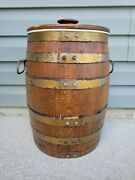 Vintage Wooden Whiskey Barrel Style Cooler Chest With Handles Norco St. Paul 17