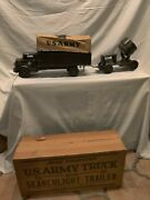 Marx 1951 Vintage U.s.army Truck And Searchlight Trailer In Original Box