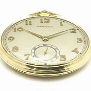 Hamilton K14yg Used Pocket Watch Antique Hand-wound Box Excellent Condition