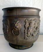 Large Antique Brass Repousse Jardiniere Planter Container Putti Drinking Wine