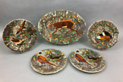Rambouillet By Gien Faience 17 1/2 Oval Platter Stag Deer Buck Chasse + Plates