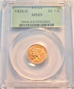 1925 D 2.50 Pcgs Ms 63 Gold Indian Quarter Eagle Pq Old Green Holder 2 And 1/2