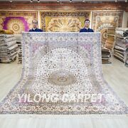 White Hand Knotted Silk Carpets 8x10ft Oriental Classic Handmade Area Rugs 032c