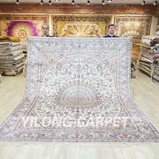 White Hand Knotted Silk Carpets 8x10ft Oriental Handcraft Area Rugs 036c