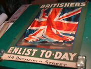Original Wwi Poster Britishers Enlist To-day By Guy Lipscombe --awesome--