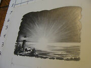 Charles E. Pont Orig. Art From 1939 Circus Boat Book Lighthouse Sunset + Proof
