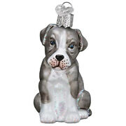 Old World Christmas Glass Blown Ornaments For Christmas Tree Gray Pitbull Pup
