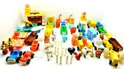 Fisher Price Play Family Little People Vintage Lot Farm Zoo Train Animals Cars