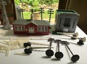 Lot Of Vintage 1960s Plasticville Red School House, Windmill, Fencing, Bank +++