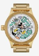 New Disney Nixon Mickey Mouse 51-30 Menand039s Gold Watch A1246311000 With Box Le 100