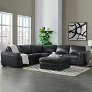 Nelson 6 Piece Leather Sectional With Ottoman