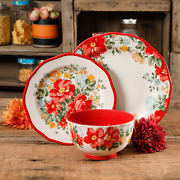 The Pioneer Woman Teal Red Floral 12-piece Dinnerware Set Bowls Plates Country