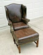 Baker Furniture Brown Leather Wingback Arm Chair And Ottoman