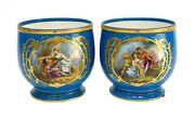 Pair Sevres France Porcelain Planters Or Jardinieres, 19th C. Courting Scenes