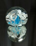 Lovely 1988 Gibson Glass Company Epergne Floral Paperweight Flowers Blue White