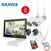 Sannce 1080p Nvr 2mp Security Camera System Wifi Audio Microphone 10.1and039and039 Monitor