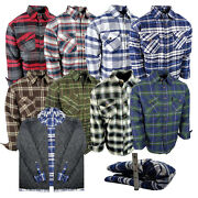 Men Plaid Flannel Shirt Jacket Fully Quilted Medium Weight Button Up 4 Pockets