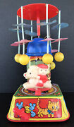 Vintage Wind Up Toy Celluloid And Tin Litho Musical Merry Go Round Works