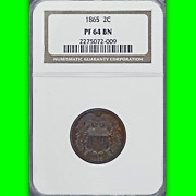 1865 Ngc Pr64 Mintage 500 - 2nd Lowest Proof 2c Piece Sleeper 2 Key Two Cents