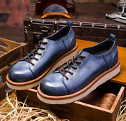 Genuine Leather Round Toe Lace Up Mens Oxfords Board Shoes Retro Business Shoes
