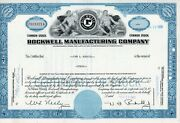 Rockwell Manufacturing Company Stock Certificate Less Than100 Shares