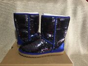 Ugg Womens Boots Classic Short Sequin Navy Size 8