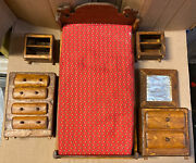 Vintage Handmade Wooden Doll House Bedroom Set See Pictures