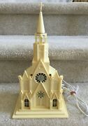 Vintage Raylite Usa Musical Silent Night Light Up Church With Cross Free Ship