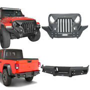 Steel Front Grill Bumper Bar + Rear Step Bumper Combo For 20-21 Jeep Gladiaor Jt