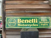 Older Style Benelli Italian Motorcycle Dealer/service Sign/ad 1and039x46 Garage Art