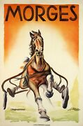 Original Vintage Swiss Horse Racing Poster Morges By Paul Wust 1946