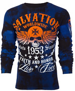 Archaic By Affliction Menand039s Long Sleeve Thermal Shirt Black Tide Biker Black 58