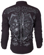 Xtreme Couture By Affliction Menand039s L/s Button Down Shirt Rattle Shield 78