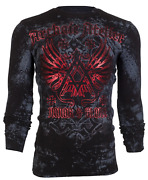 Archaic By Affliction Menand039s Long Sleeve Thermal Shirt Achilles Biker Black 58
