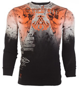 Archaic By Affliction Menand039s Long Sleeve Thermal Shirt Nightwatcher Biker Black