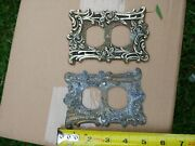 2 Vintage Tandhc 60d Electrical Outlet Plate Cover Ornate Metal Decor Pair Set