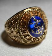 Vintage 1960's United States Us Navy Ring Mint Condition Solid 14k Gold Frees/h