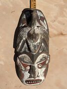Papua New Guinea Wooden Mask Human Face And Bird Painted Red And White 16in Tall