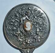 Victorian Repousse 1905 Hand Mirror Silver Plate Cherub Hand Carved Shell Cameo