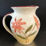 Hartstone Pottery Pitcher Milk Jug Hand Painted Scarlet Blossoms Made Ohio Usa
