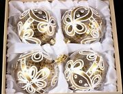 Lot 4 Large Czech Glass Christmas Tree Bauble Ornaments Decorations Gold Clear