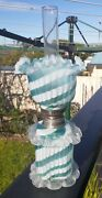 Extremely Rare Satin Candy Striped Ribbed Miniature Antique Oil Lamp